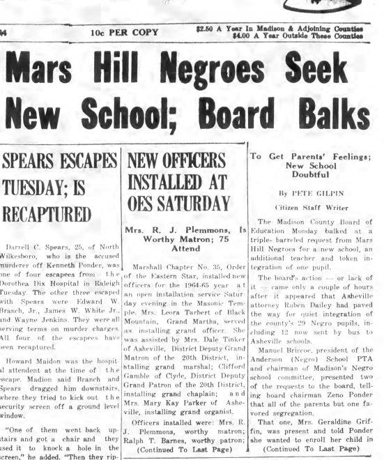 Mars Hill Negroes Seek New School – News-Record, April 9, 1964